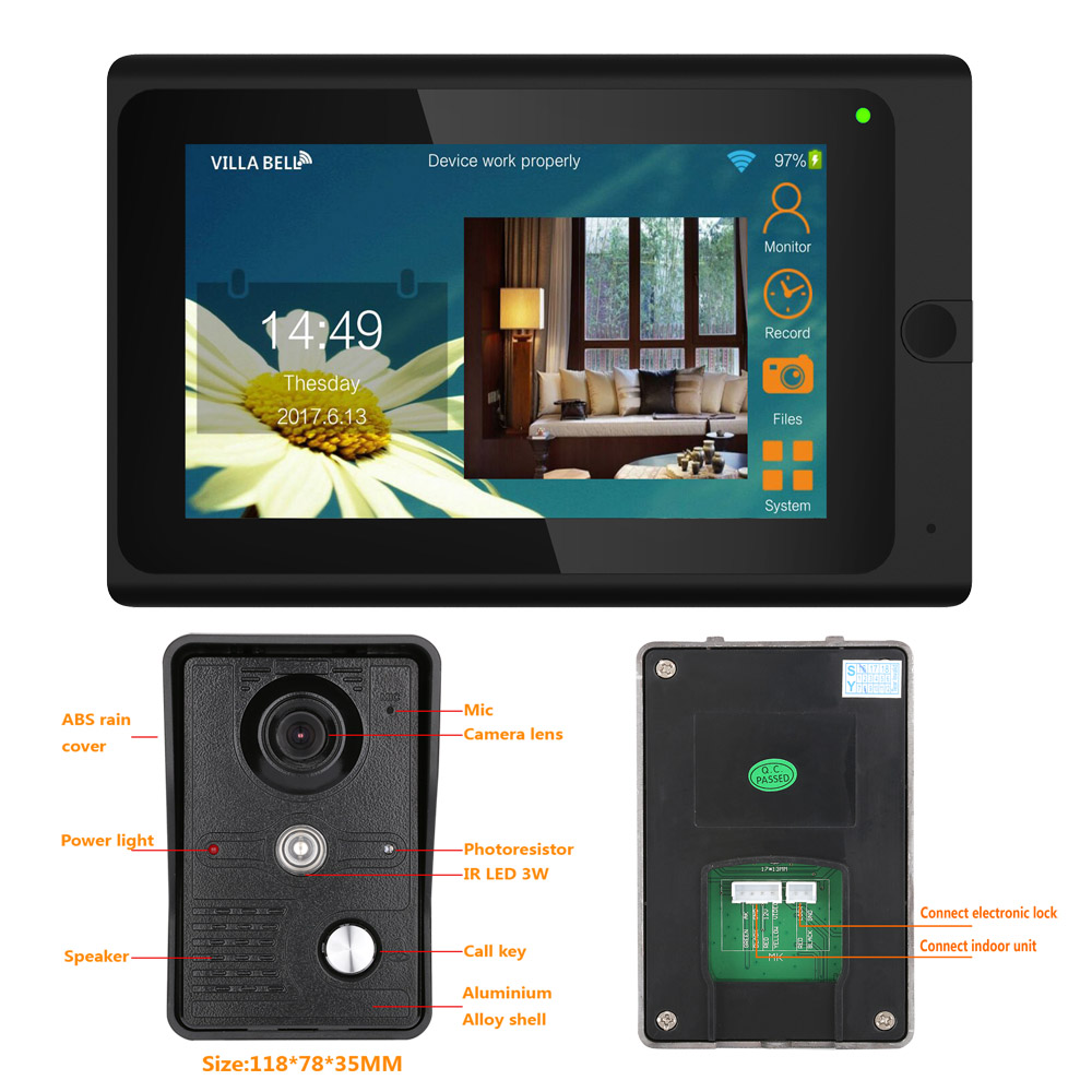 Yobangsecurity 7 Inch Monitor Wifi Wireless Video Door Phone