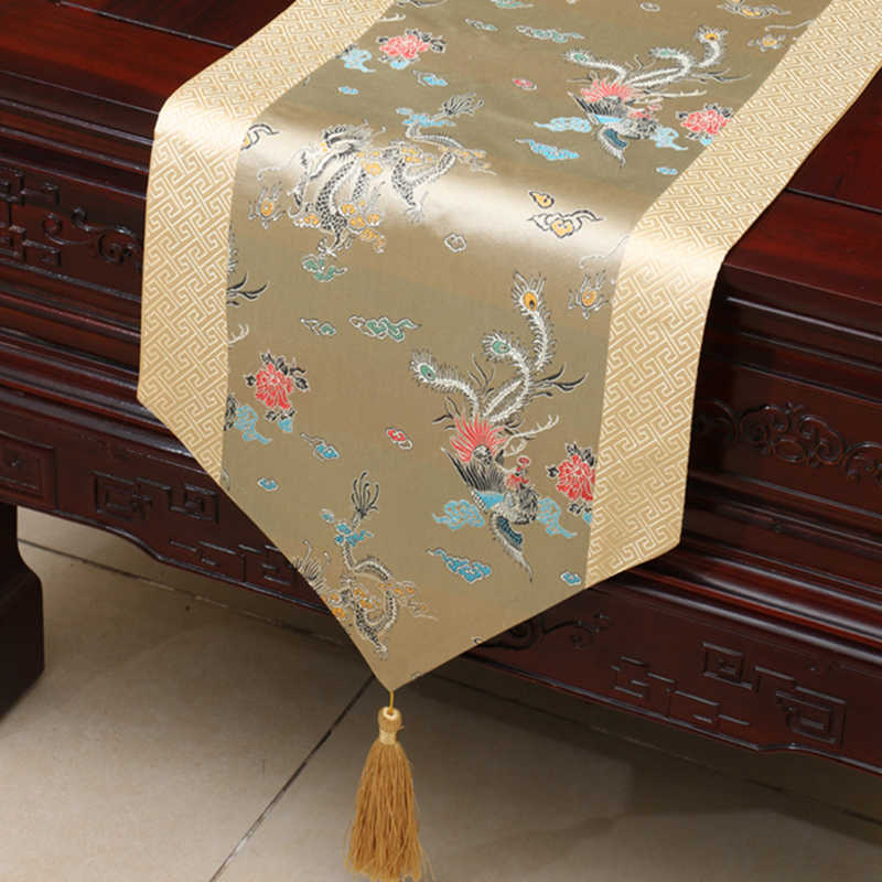 Классический китайский стиль покрывало творческие кисточкой Настольная дорожка традиционное ремесло парча чайная салфетка коврик для чайного столика скатерть для домашнего декора