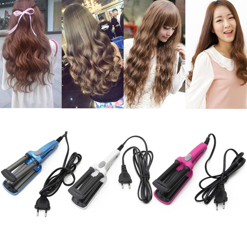 Mini Ceramic Hair Crimper Curler Curling Iron Tong Waving Wand Roller Salon Triple Barrel Hair Styling Tools 110-220V Electric