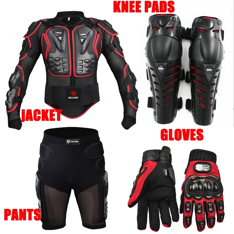Sport racing skiing drop resistance Racing Motorcycle full body armor jackets+Racing Shorts+Knee pads+Gloves pro biker mcs 01a motorcycle racing full finger protective gloves blue black size m pair