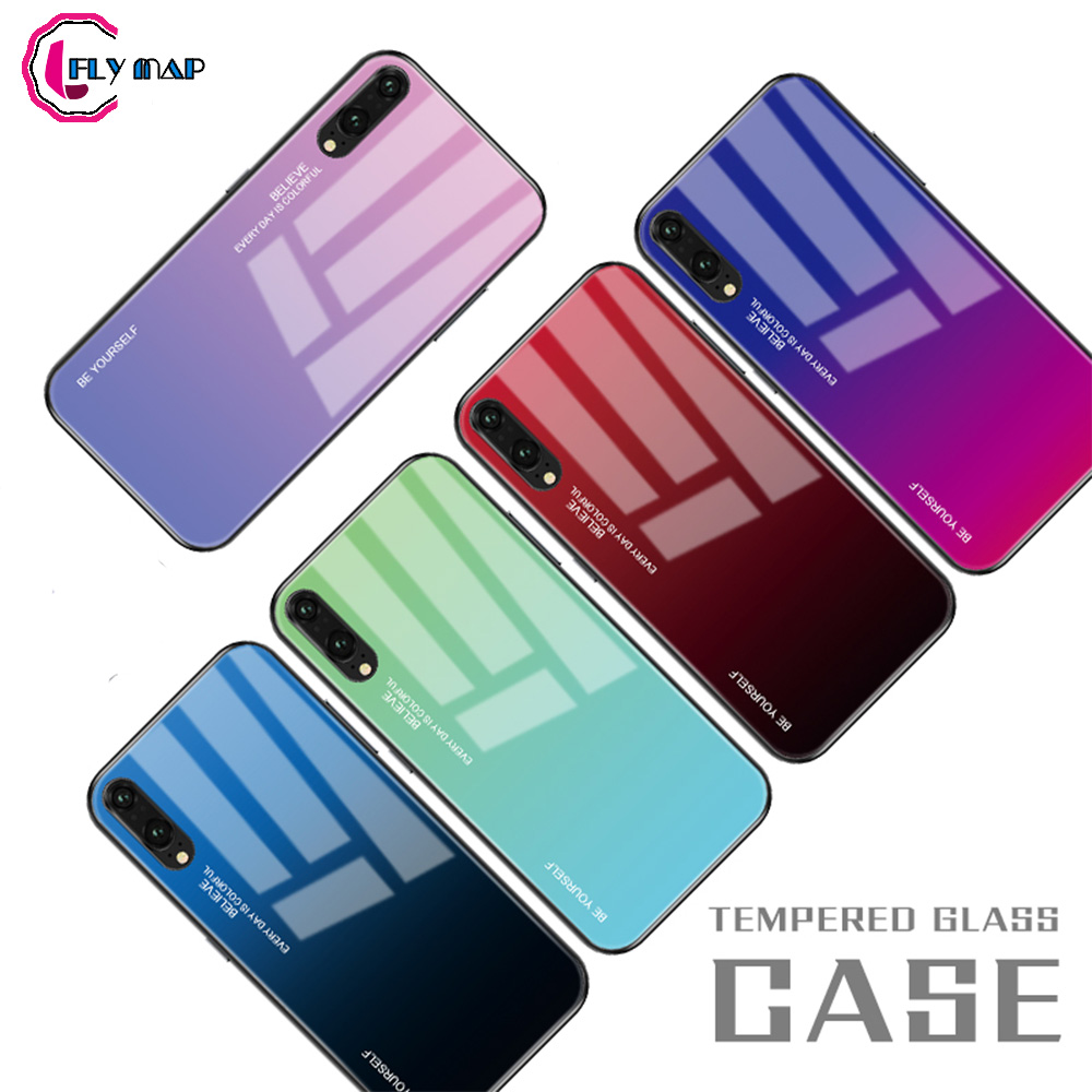 Gradient Aurora for Huawei P20 Pro CLT L29 P20Pro Tempered Glass Back Case P 20 Pro CLT-L29 CLT-L09 Colorful Luxury Cover Shell Huawei P20 Pro