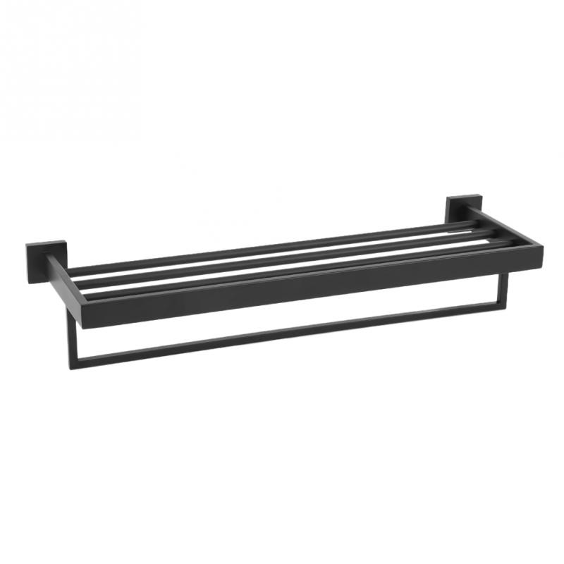 Black Stainless Steel Towel Rack Bathroom Towel Holder Towel Shelf Bar Rack Rail Holder Black Finish Bathroom Accessories