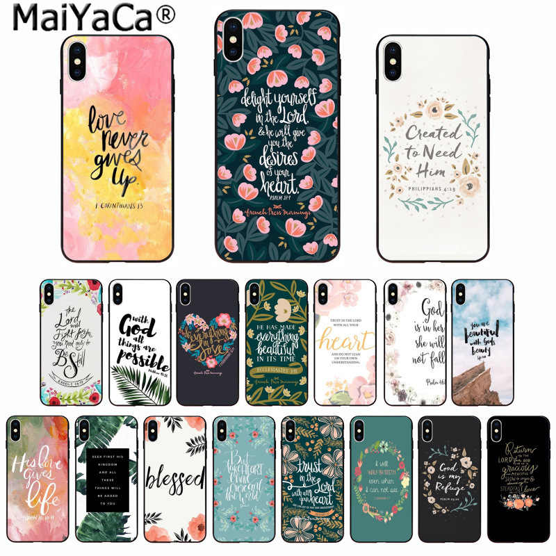 MaiYaCa Mobile Phone Case Bible verse Philippians Jesus Christ Christian for iPhone 6S 6plus 7 7plus 8 8Plus X Xs MAX 5 5S XR