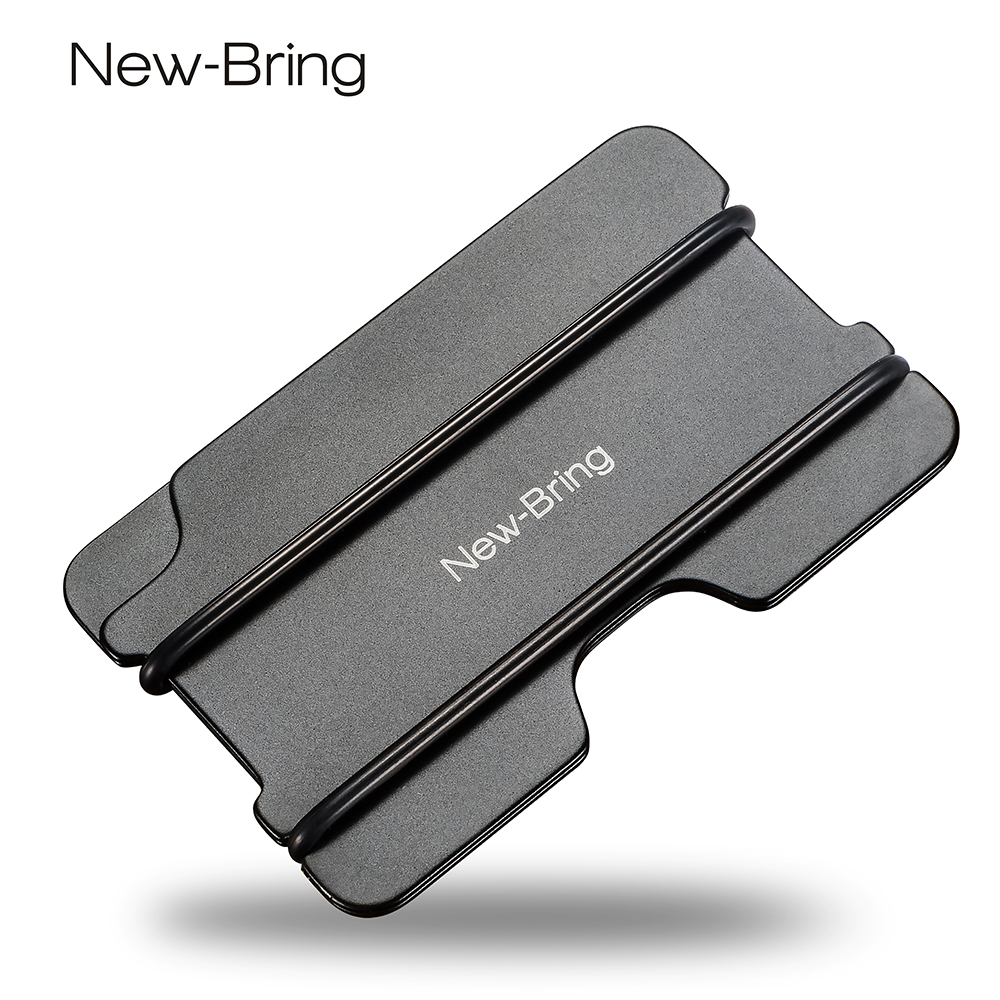 NewBring Fashion Metal ID Kreditkortshållare Svart Pocket Box Visitkort Plånbok Med RFID Anti-Chief Wallet Men