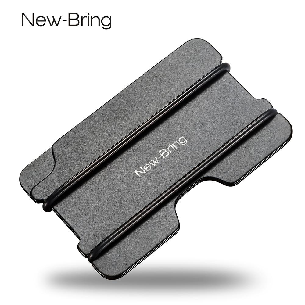 NewBring אופנה מתכת תעודת זהות מחזיק כרטיס אשראי שחור כיס עסקים כרטיסי ארנק עם RFID Anti-Main ארנק גברים