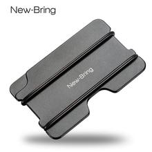 NewBring Fashion Metal ID Credit Card Holder Black Pocket Box Business Cards Wallet With RFID Anti chief Wallet Men