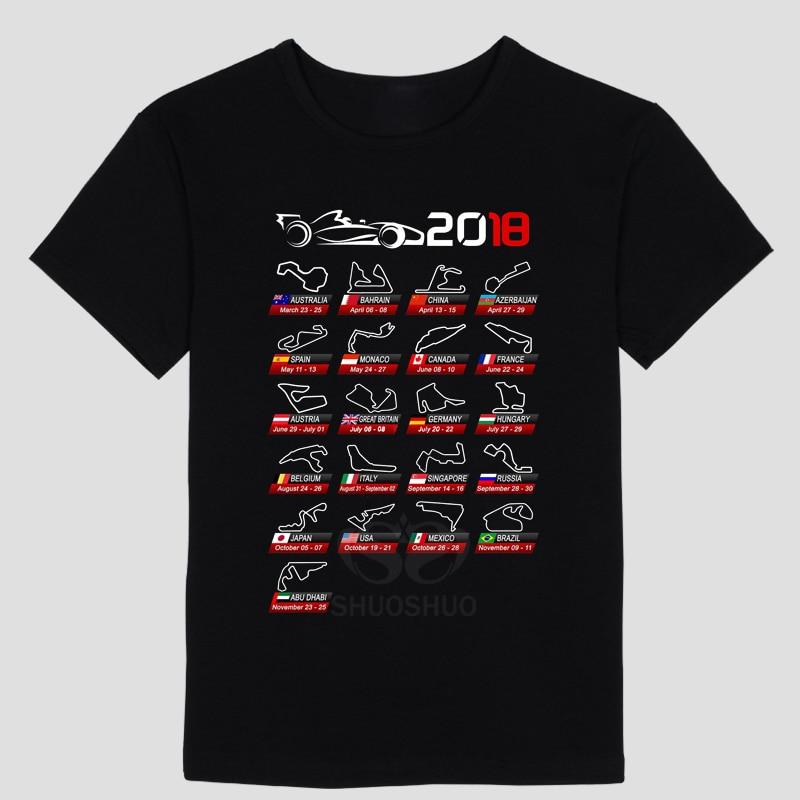 Men's T Shirt Car fans Tops cool Tees My favorite driver Calendar F1 2018 circuits ayrton senna