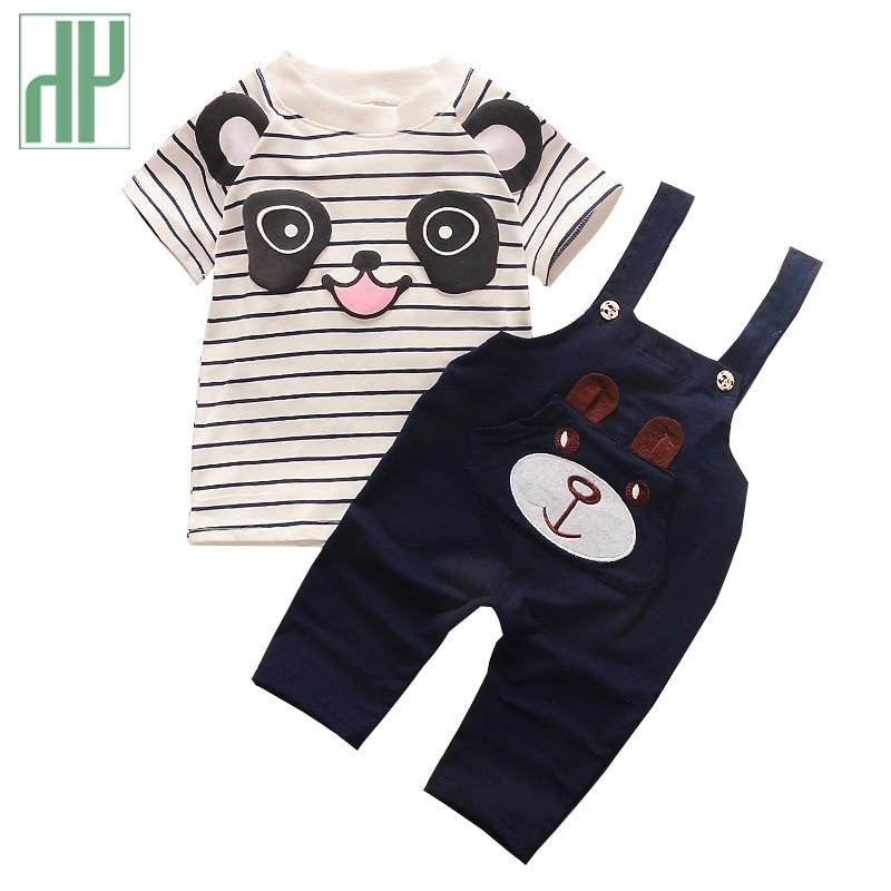 Children clothes summer style toddler boys clothing Sets short sleeve 2pcs cartoon bear Shirt+Pants girls boutique clothing