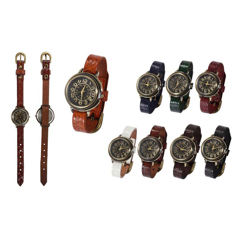 Wristwatch Watch-Clock Number Quartz Vintage Women PU Antique Ll--17 Band Gift Dial Analog