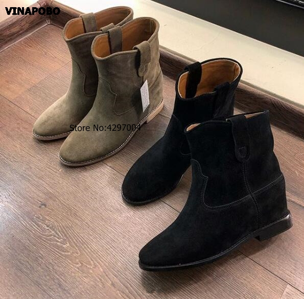 High Quality Gray Suede Leather Increased Heel Ladies Boots Street Style Women Round Toe Ankle Boots Autumn Cowboy Ankle Boots