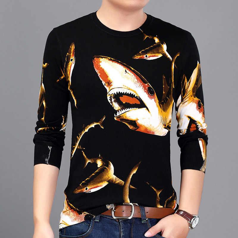 В китайском стиле с изображением тигра бабочки печати Модный Свитер, Пуловер Осень 2018 новый качественный хлопок мягкий эластичный свитер для мужчин