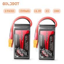 2 unità di Goldbat Lipo Batteria 1500mah 14.8v 4s Lipo Batteria 100c Lipo Batteria 100c Con XT60 Spina per Drone Fpv Rc Camion Aereo