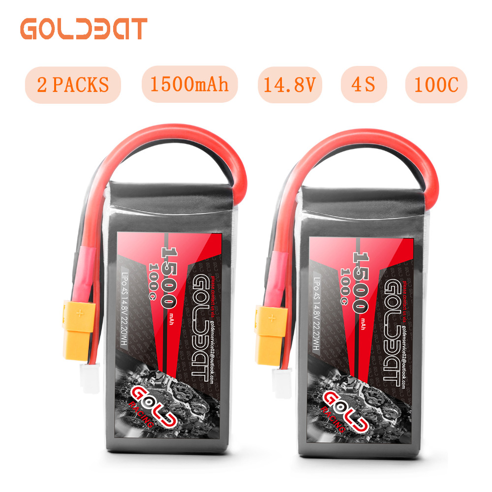 2units GOLDBAT <font><b>1500mah</b></font> <font><b>Lipo</b></font> Battery 14.8v Battery <font><b>Lipo</b></font> <font><b>4s</b></font> Battery 14.8v <font><b>lipo</b></font> drone Battery <font><b>100C</b></font> with XT60 Plug for fpv rc Truck image