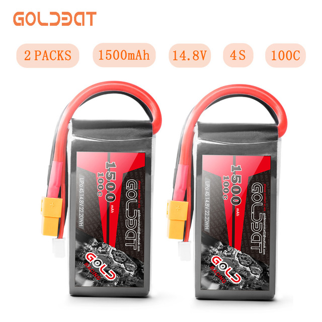 2units Goldbat Lipo Battery 1500mah 14.8v 4s Lipo Battery 100c Lipo Battery 100c With XT60 Plug For Drone Fpv Rc Truck Airplane