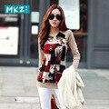 2016 Осень Китайский стиль свободный плюс размер длинным рукавом женщины футболка шею женщины футболки bodycon женщины топы camisetas у топы