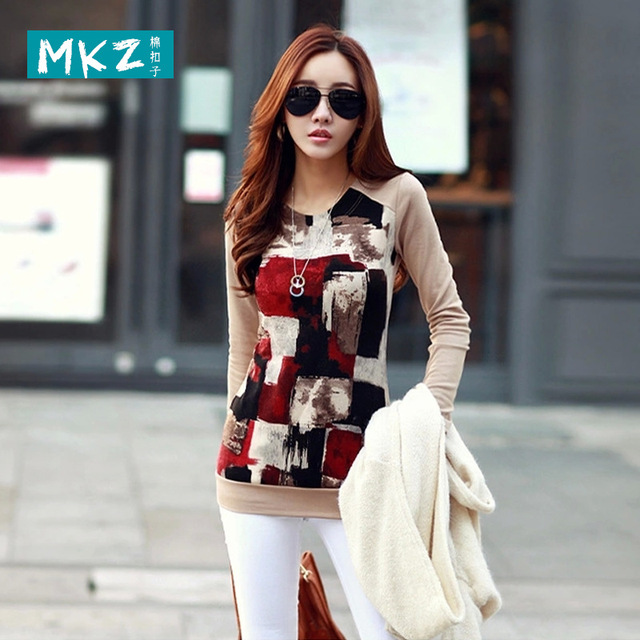 2016 Autumn China style loose plus size long sleeve women t-shirt round neck women shirts bodycon women tops camisetas y tops