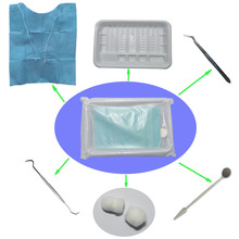 40 kits (6 in 1) Mouth Mirror, Probe, Tweezer, Bib with Tie, Cotton Ball, Plastic Tray Dental Disposable Consumable