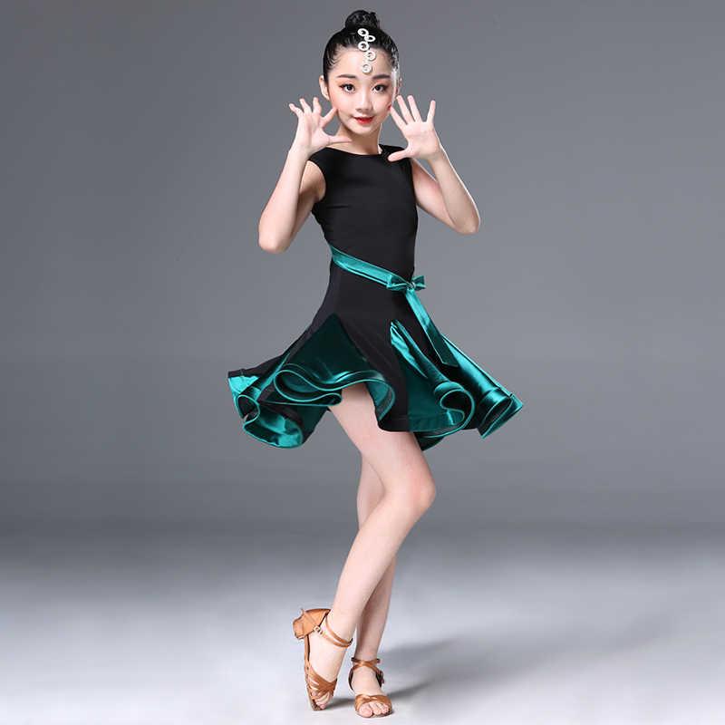 Vestido de baile latino de chica moderna trajes de baile de salón Samba Tango vestido de práctica de fiesta baile de escenario trajes de baile