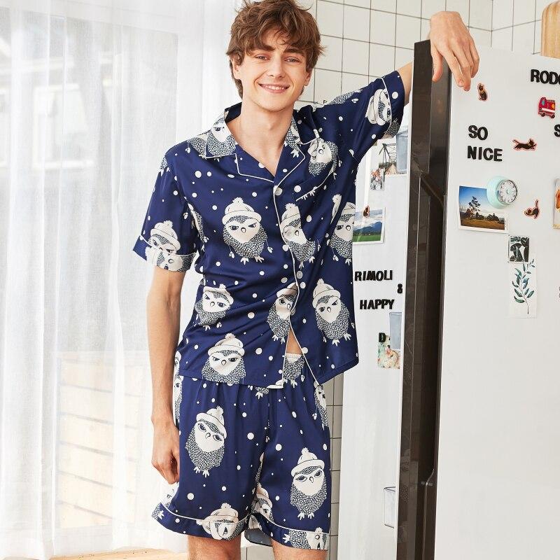 e6166921af Herren-pyjama-garnituren ZuverläSsig Ps0350 2019 Neue Pyjamas Männer Sommer  Kurzarm Shorts 2 Stücke Pyjama Set Männlich Satin Seide Nachtwäsche Pyjamas  ...