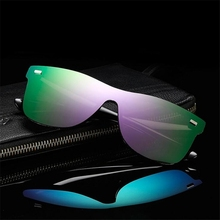 ZXTREE Fashion One Piece Lens Sunglasses Men Women Vintage Coating Mirror Sun