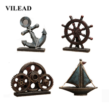 VILEAD Multiple Styles Resin Anchor Rudder Gearwheel Sailboat Figurines Creative Europe Mediterranean Home Decor Miniatures Gift