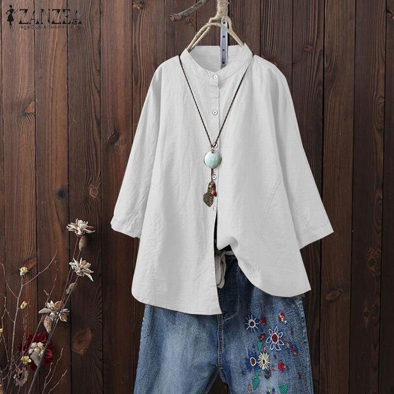 ZANZEA Plus Size Women Mandarin Collar 2018 Autumn Shirt Vintage Long Sleeve Solid Top Casual Buttons Cotton Linen Blusas Femme