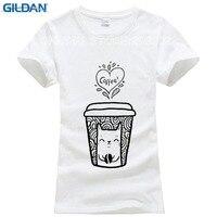 Bán buôn Mùa Hè doodle cat cà phê Shirts Dễ Thương Mèo T Áo Sơ Mi Phụ Nữ O-Cổ T-Shirt Casual Top Tees Camisa Ngắn Tay Áo