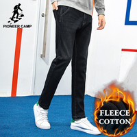 Pioneer Camp Thick Fleece Warm Jean Men Brand Clothing Autumn Winter Black Denim Pants Male Quality