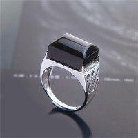 1PC Generous Natural Black Crystal Moonstone Quartz Gems Stone Finger Ring for Men Women Charm Ring Jewelry Adjustable