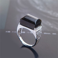 1PC Generous Natural Black Crystal Moonstone Quartz Gems Stone Finger Ring for Men Women Charm Ring Jewelry Adjustable