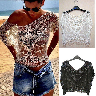 Sexy Women Vintage Lace Chiffon Blouses Hollow Casual Crochet Tops Deep V Neck  Loose Blouse Tops