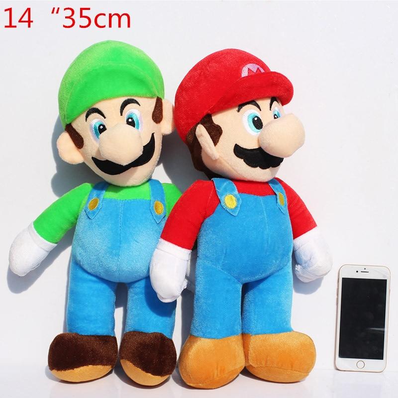 Cute 2Pcslot 14inch 35cm Super Mario Luigi Plush Toy Soft Dolls For Children Free Shipping
