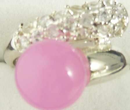 ขายส่ง noble สีชมพูธรรมชาติหยกหยกเงินคริสตัล inlay แหวนแฟชั่น (#7.8.9)