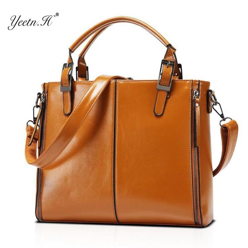 Yeetn. h новые модные туфли из натуральной кожи Для женщин сумки высокое качество коричневый Для женщин Винтаж Сумка Офис верхняя Портфели y810