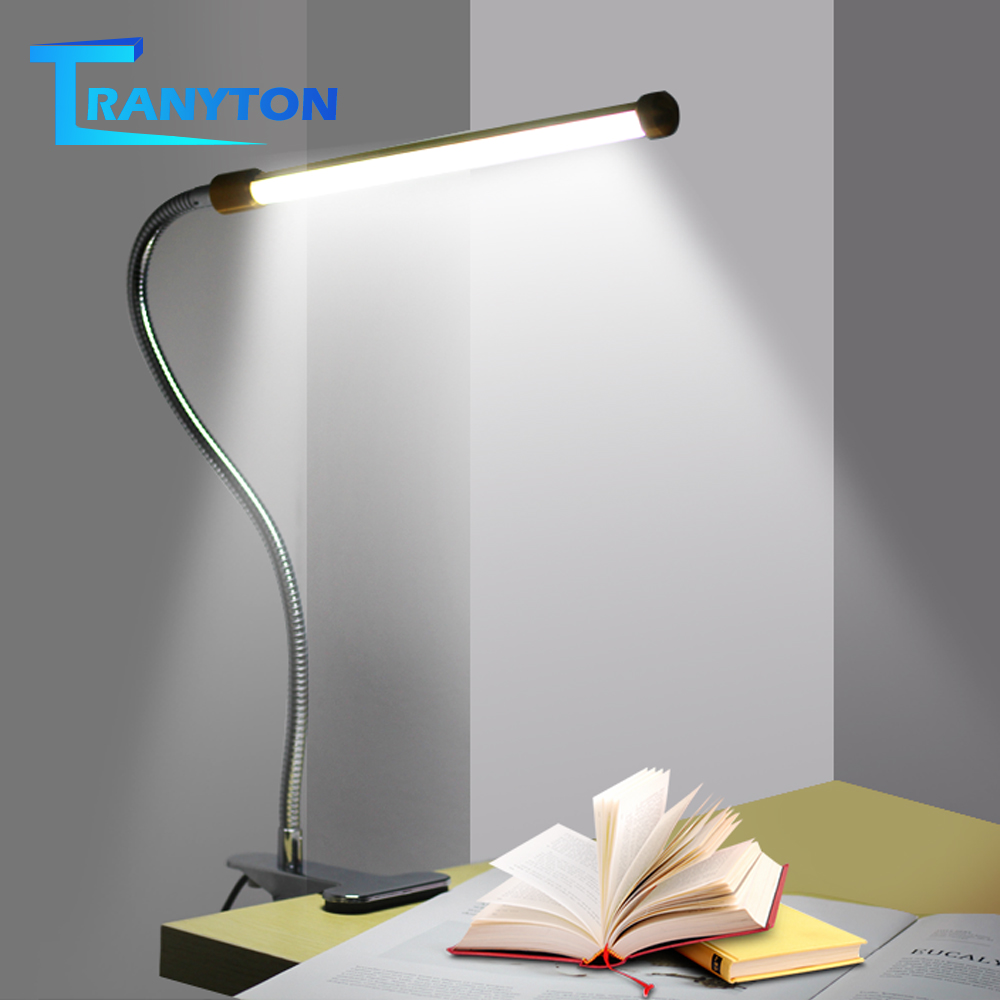 Clip Holder USB Powered LED Desk Lamp Flexible Gooseneck Reading Table Lamp Dimmable Eye Protection Night Light For Study Office
