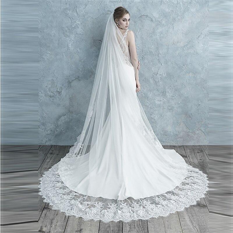 Verngo Bridal Veils Appliques Wedding Veil Wedding Accessories Delicate Lace Veil
