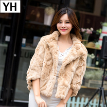 2019 New Hot Sale Lady Real Rex Rabbit Fur Coat Genuine Real Rex Rabbit Fur Jacket Casual100 Natural Rex Rabbit Fur Waistcoat cheap REGULAR Double-faced Fur Natural Color WOMEN MANDARIN COLLAR Real Fur YH3254 Nine Quarter Covered Button Solid Short Slim