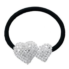 Silver Plated 2 Heart Rhinestone Elastic Band Hair Tie Ponytail Holder 852eaa117b13