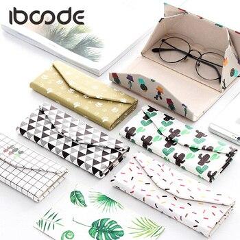 iboode PU Glasses Case Folding Sunglasses Box Foldable Cute Portable Striped Fresh Print Student Triangular Eyeglasses Accessory
