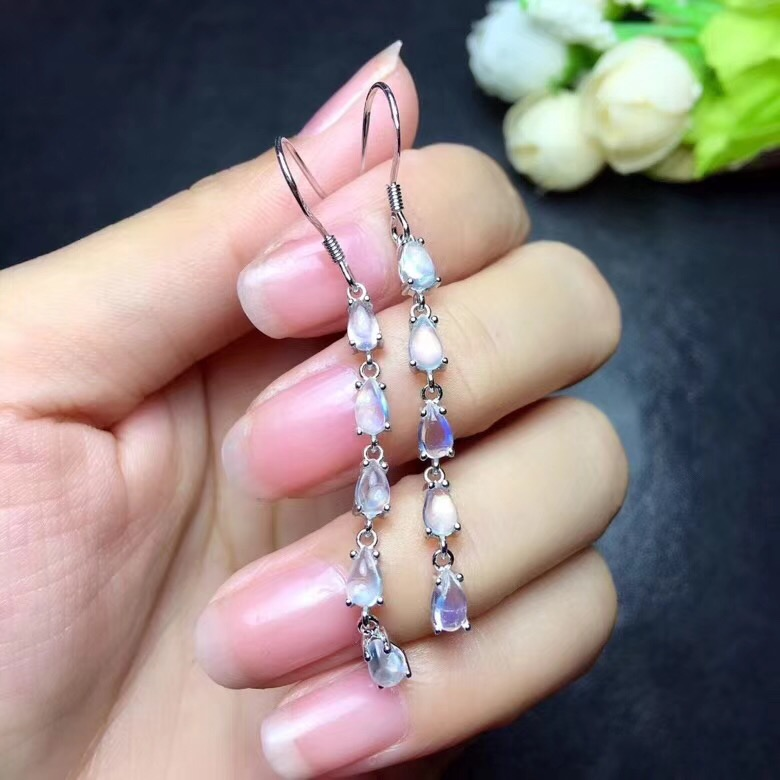Natural Moonstone earring Free shipping Jewelry Natural real Moonstone 925 Sliver Ring недорго, оригинальная цена