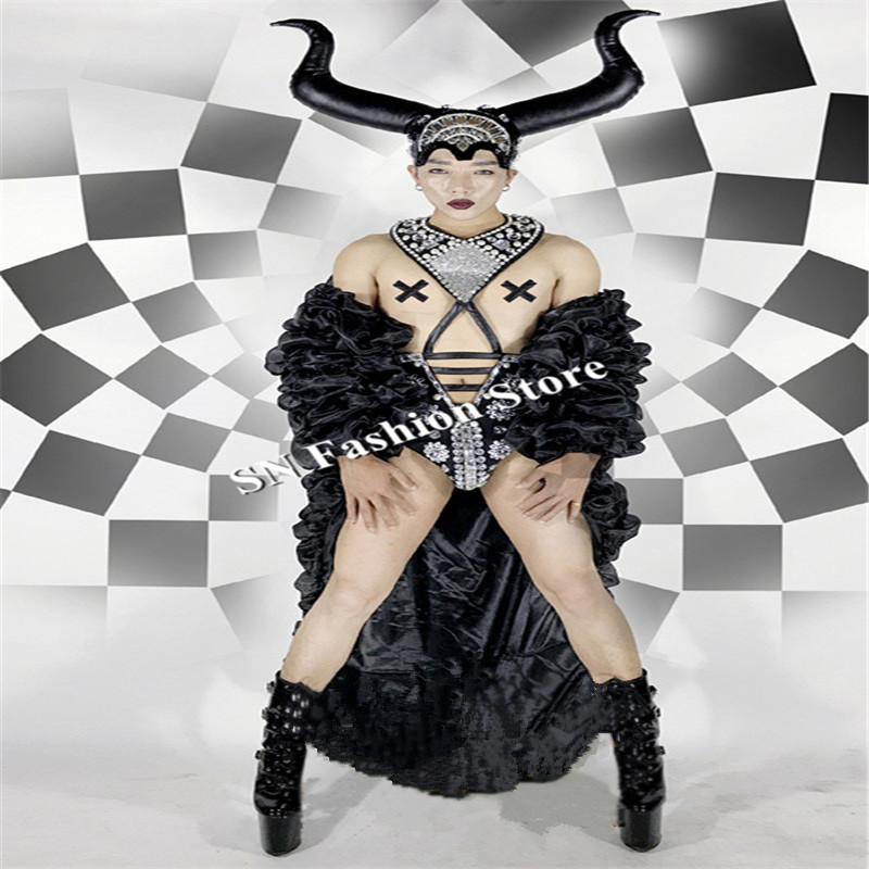 BC84 Ballroom dance costumes black cloak mens dj singer wears font b clothing b font party