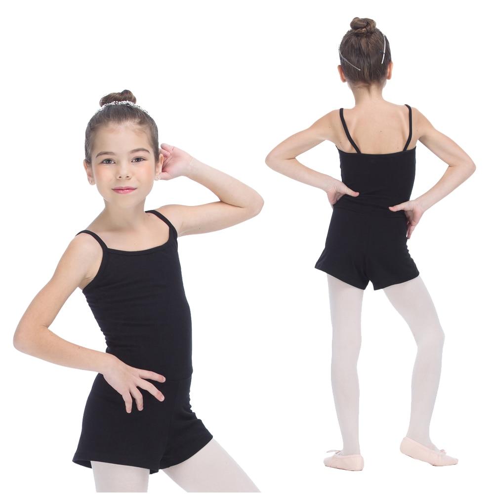 172ccc588463 Girls Black Leotard with Shorts Gymnastics Cotton Lycra Camisole ...