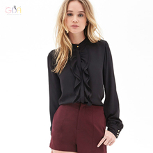 GDA. 2016 New Spring Autumn Women Formal Long Sleeve White & Black Blouses Ladies Office Femininas Shirts Work Wear OL Blusas F
