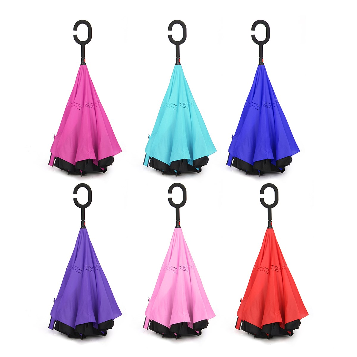 Invert color jpg online - Self Stand C Hook Windproof Double Layer Inverted Umbrella Hand Free Reverse Umbrella Six