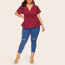 Women's Blouse Plus Size V Neck Short Sleeve Shirt Polka Dot Knot waist Ladies Shirt