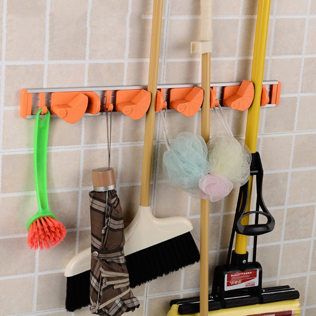 Wall Mounted For The Kitchen 4 Position 5 Hooks Kitchen Utensil Broom Mop  Holder Organizer House