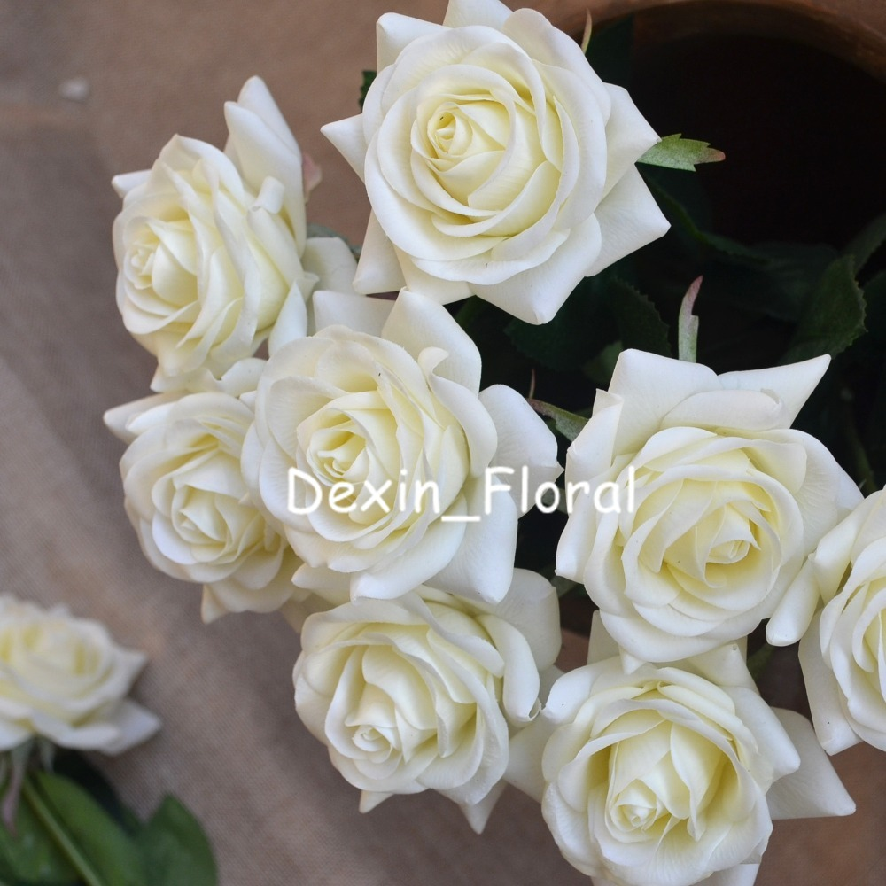 Ivory cream rose Real Touch Silk Roses DIY Silk Bridal Bouquets ...