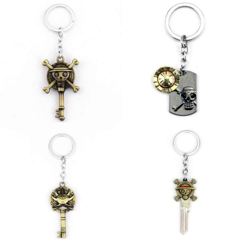 One Piece Keychain metal pendant key chain ring luffy pirate skull Figure jewelry men toy accessories keyring onepiece logo
