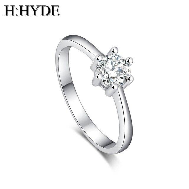 H: HYDE Moda sposa gioielli Color argento Multi-color Cubic Zirconia Wedding Rin