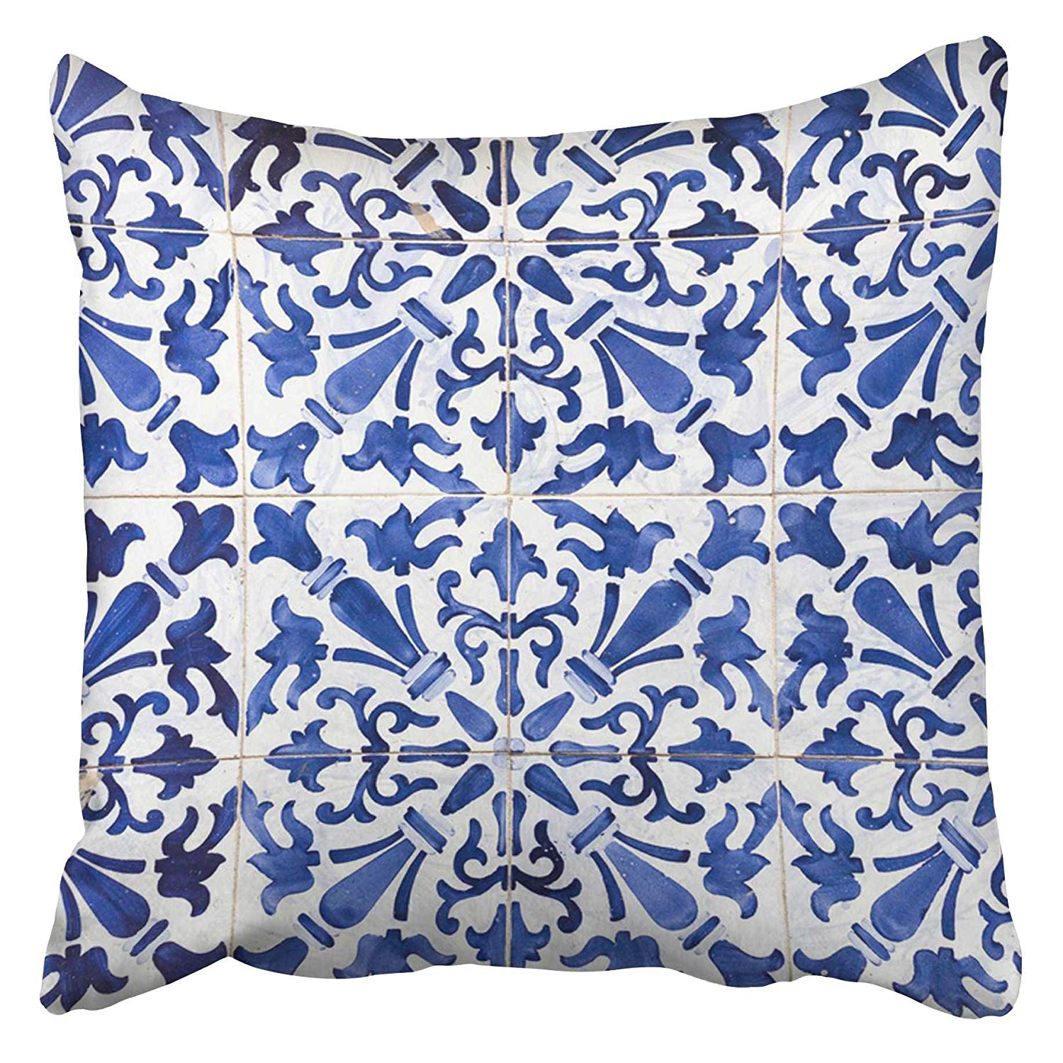 Throw Pillow Covers Cases Ative 16x16 Inch Blue Vintage Traditional Ornate Portuguese Tiles Azulejos Colorful